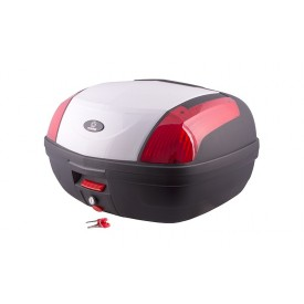 Kufer Moretti MR-889, 46 l., biały, czerwony odblask