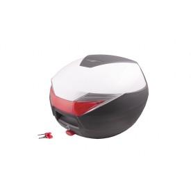Kufer Moretti, MR-713, 30l, Biały, czerwony odblask