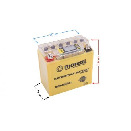 Akumulator AGM (I-Gel) MB9-BS Moretti ze wskaźnikiem