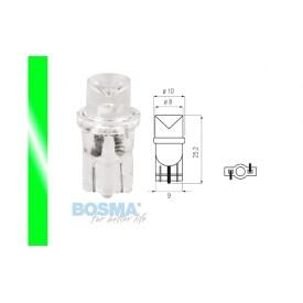 Żarówka BOSMA 12V 1*LED STANDARD T10 GREEN WIDE VIEWING BLISTER