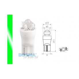 Żarówka BOSMA 12V 1*LED STANDARD T10 GREEN DIAMOND