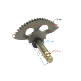 Wałek rozrusznika nożnego (półksiężyc) do skutera 2t 72 mm