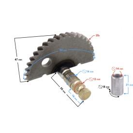 Wałek rozrusznika nożnego (półksiężyc) do skutera 4T 50cc (7 zębów)