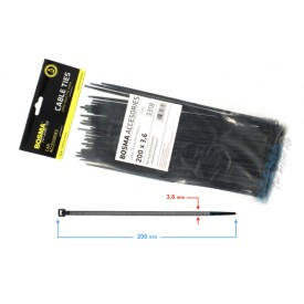 Opaska zaciskowa BOSMA 3,6*200 mm black (100 pcs)