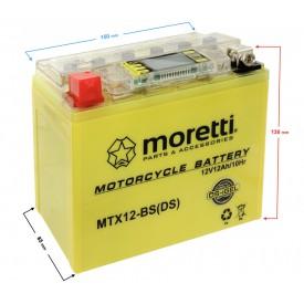 Akumulator AGM(I-Gel) MTX12-BS Moretti ze wskaźnikiem